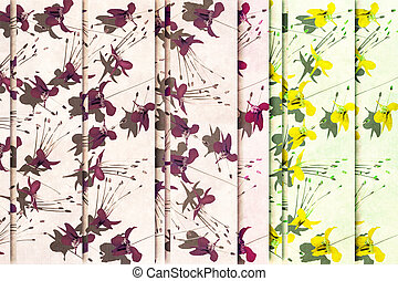 Shock yellow and purple flower background
