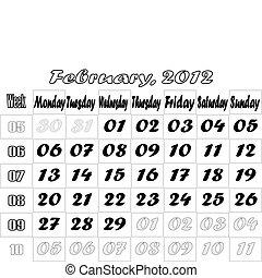 February 2012 monthly calendar v.2