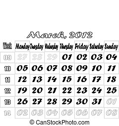 March 2012 monthly calendar v.2