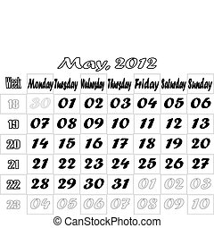 May 2012 monthly calendar v.2
