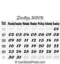 July 2012 monthly calendar v.2