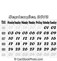 September 2012 monthly calendar v.2