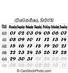 October 2012 monthly calendar v.2