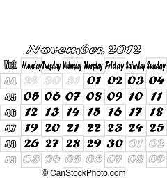 November 2012 monthly calendar v2 - Monthly Calendar with...
