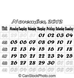 November 2012 monthly calendar v.2