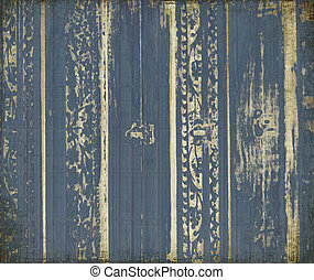Blue and white scroll-work stripes
