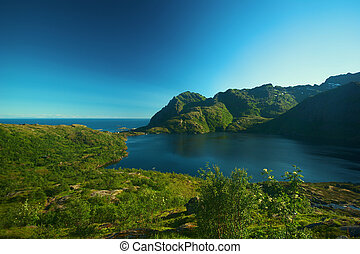 island of Moskenesoya on the Lofoten in Norway - A wideangle...