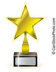 Gold star award - Golden star achievement award with space...