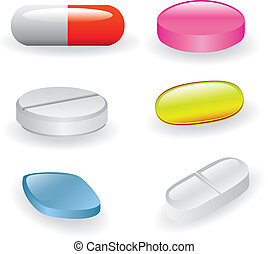 pills and capsules - set of different pills and capsules
