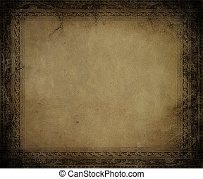 Antique parchment with dark embossed frame textured...
