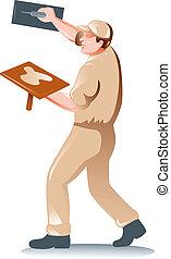 plasterer tradesman worker - illustration of a plasterer...