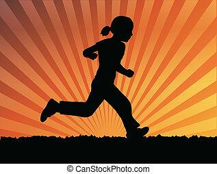 little girl running - Silhouette of little girl running -...