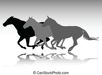 wild horses running - vector illustration