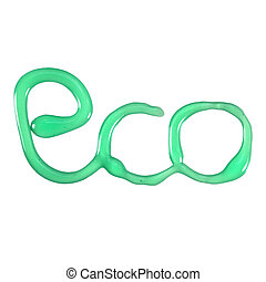 Eco word with texture liquid