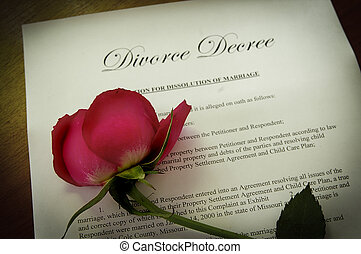 Divorce Decree document with wilted red rose