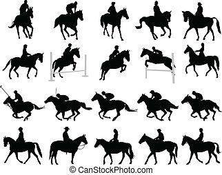 Horsemen silhouettes - 20 high quality horsemen silhouettes...