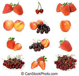 fruits collection 1 - collection of peaches, strawberries...