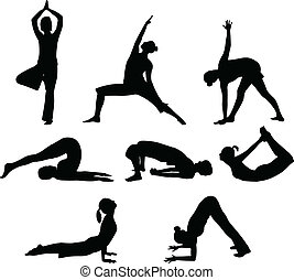 yoga poses - vector illustration