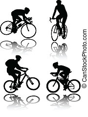 Bicyclists silhouettes - vector illustration