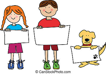 Cartoon kids with dog and signs