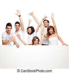 enthusiastic friends advertising white board - group of...