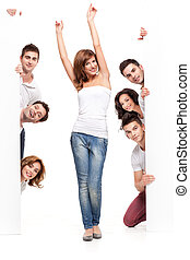happy woman and friends advertising - enthusiastic young...