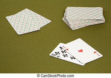 Black jack - Playing cards on a green table