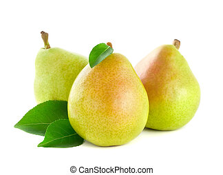 Fresh pear with green leaves
