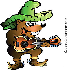Mexican Wallaby Playing Guitar - Handdrawn vector...
