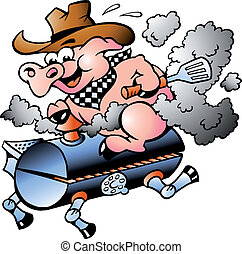 Pig riding on a BBQ barrel - Handdrawn vector illustration
