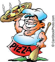 Pizza Baker with a giant pizza - Handdrawn vector...