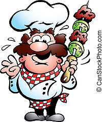 Kebab Chef with a kebab skewer - Handdrawn vector...
