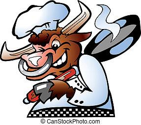 toro, Chef, tenencia, cacerola, encima, el suyo, sc