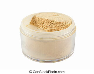 face powder - closeup of face powder isolated on white