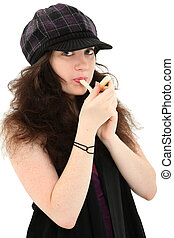 Attractive Teen Girl Eating String Cheese