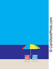 Deckchair Beach - beach with dechairs and parasol