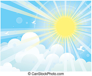 Sun rays and blue sky.NAture - Sunshine and blue sky with...