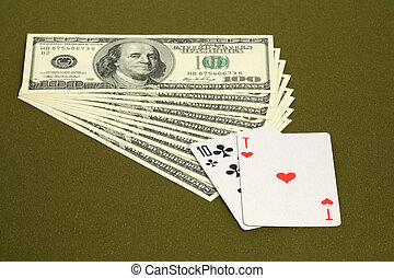 Black jack - Playing cards and money on a green table