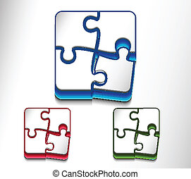 puzzle web icon design set