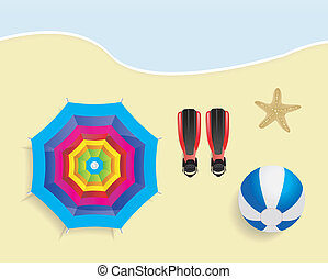Beach with umbrella, ball, flippers and starfish vector...