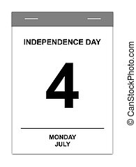 4th July - Calender showing July 4th Independence Day USA