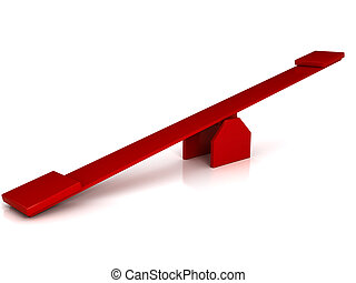 vermelho, Balanço, sobre, branca, fundo