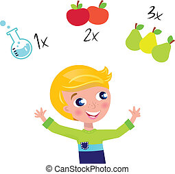 Cute blond boy learning math and counting isolated on white...