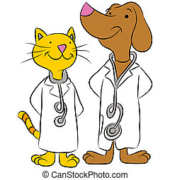 Cat And Dog Pet Doctors - An image of a cat and dog dressed...