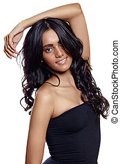 beauty woman with long balck curly hair - beautiful woman...