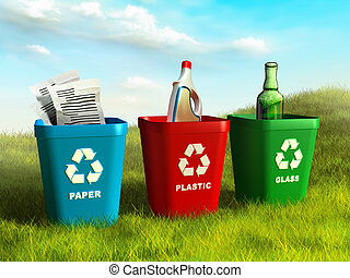 Recycle bins - Colored trash bins used to recycle paper,...