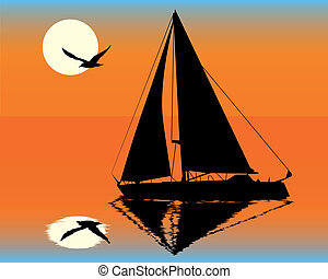 silhouette of a yacht