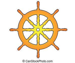dorado, mar, rueda