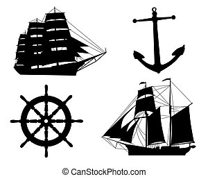 silhouettes of sailboats, anchors and steering wheel on a...