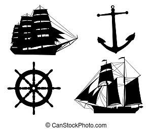 Siluetas, veleros, anclas, entrepuente, rueda